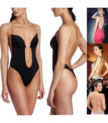deep plunge convert clear strap ultra low backless push up bra thong body shaper