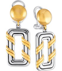 peter thomas roth two-tone geometric drop earrings in sterling silver & gold-plate