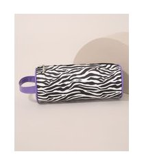 nécessaire feminina estampada animal print tigre preta