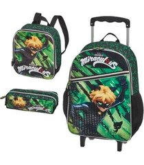 kit mochila com rodinhas miraculous cat claws out com lancheira e estojo masculina