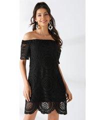 yoins de encaje negro de doble capa fuera del hombro vestido