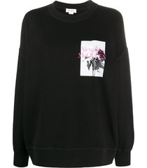 alexander mcqueen oversized rose-print sweatshirt - black