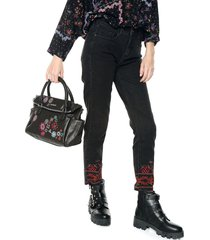 jeans negro desigual