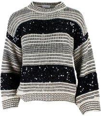brunello cucinelli striped dazzling stripes sweater in cotton, linen and silk with sequin diamond thread