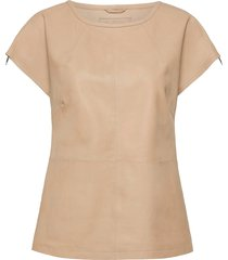top blouses short-sleeved beige depeche