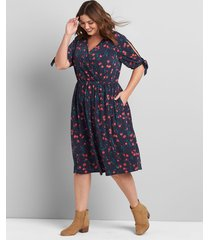 lane bryant women's printed crossover fit & flare dress 14/16 navy rose floral