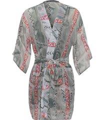 kimono kika simonsen amarração estampado cinza