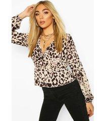 leopard print wrap peplum top, brown