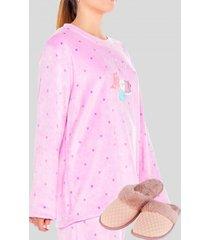 pack pijama mas pantuflas cat fucsia baziani