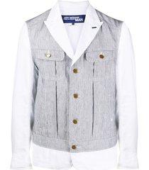 junya watanabe man striped overlay blazer - white