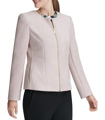 faux-suede zip front jacket