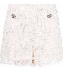 blumarine tweed fringe-trimmed shorts - white