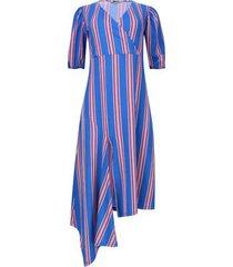 vestido manga larga a rayas verticales color azul, talla 6