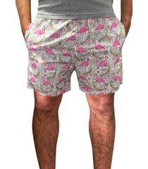 shorts flamingo j10 tactel c/ elastano estampado c/ bolsos laterais 01019 rosa