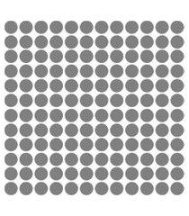 adesivo de parede bolinhas prata 144un