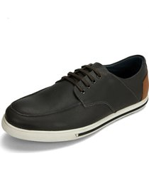 zapato casual y oxfords negro-miel-blanco colore