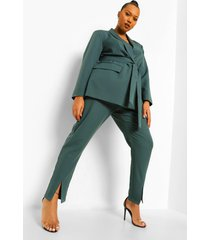 plus nette getailleerde broek met split, green