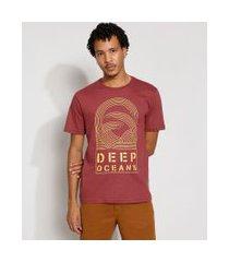 "camiseta masculina manga curta deep oceans"" gola careca vinho"""