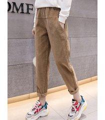 pantaloni casual a vita elastica in patchwork di velluto a coste color solido