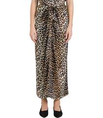 ganni leopard long skirt in stretch satin