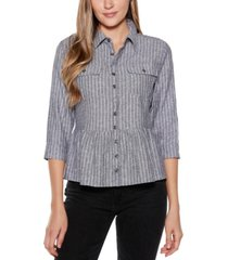 belldini black label striped button up peplum top with pockets