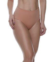 calcinha  feminize  cintura alta frente dupla lisa  caramelo - caramelo - feminino - dafiti