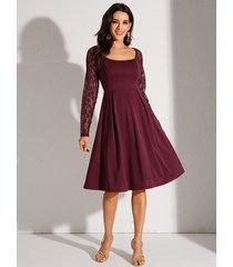 yoins empalme de encaje rojo elegante plisado vestido