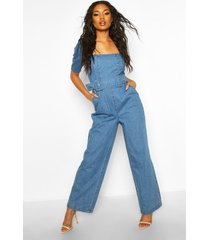 belted denim wide leg jumpsuit, mid blue
