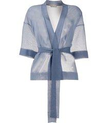 altea sheer belted cardigan - blue