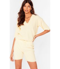 womens knit's your chance ribbed shorts lounge set - yellow