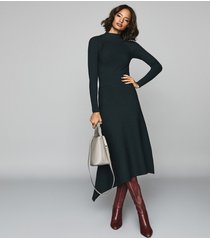 reiss leo - turtleneck knitted dress in teal, womens, size xl