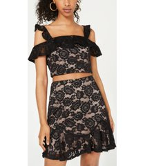 city studios juniors' 2-pc. cold-shoulder lace dress