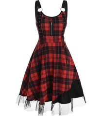 lace-up o ring tulle panel plaid dress