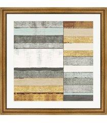"""metaverse beachscape ii gold neutral by michael mullan framed art, 32"""" x 32"""""""