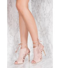 na-kd shoes side lacing high heel - pink