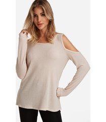 beige round neck cold shoulder long sleeves t-shirt