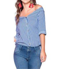 blusa para mujer rayas azul mp 35315