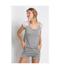 pijama acuo slow curto malha leve detalhe renda feminino