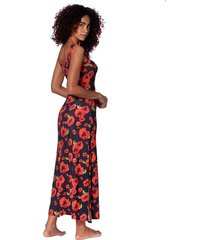 poppy print long tank dress