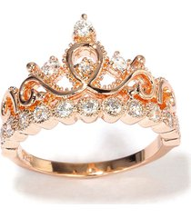 0.30 cttw round cut diamond 18k rose gold over princess tiara crown ring
