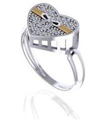 anel coração em com filete de ouro pratamil joias feminino - feminino