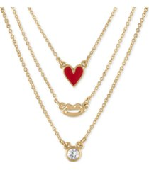 "rachel rachel roy gold-tone 3-pc. set heart, lips & stone pendant necklaces, 17"" + 2"" extender"