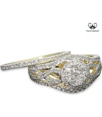 1.25 ct diamond yellow gold plated 925 silver women's engagement bridal ring set