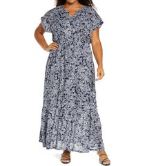 plus size women's caslon tie waist ruffle hem maxi dress