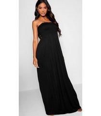 geplooide strapless maxi jurk, zwart