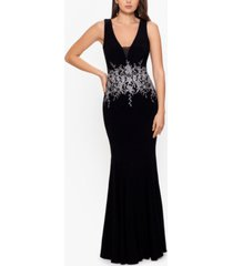betsy & adam embroidery-trim gown