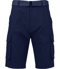 galaxy by harvic men's flat front belted cotton cargo shorts