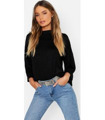 basic oversized high neck 3/4 sleeve t-shirt, black