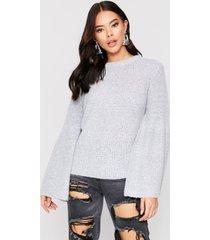 flared sleeve ribbed sweater, grey