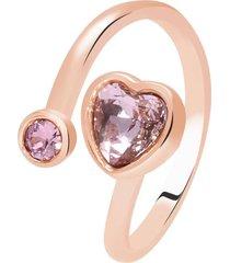 anello in metallo rosato e pietre con cuore per donna